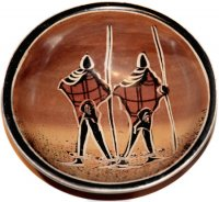Small Maasai Warriors Soapstone Bowl