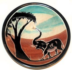 Small Elephant and Acacia Tree Soapstone Bowl
