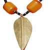 Brass and Amber Leaf Necklace