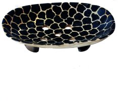 Black Giraffe Painted Cow-Horn Soap Dish