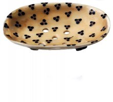 Leopard Print Painted Cow-Horn Soap Dish