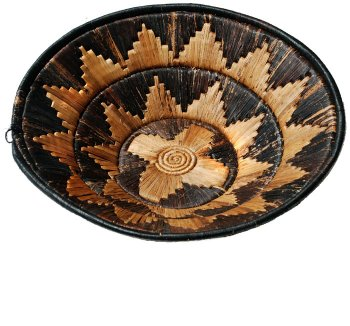 Black and Natural Banana Fiber Basket