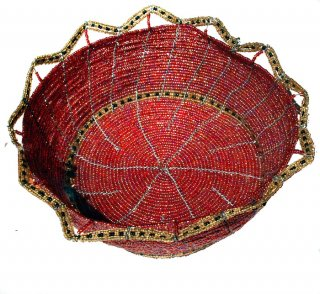 Large Glass Beaded Wire Basket
