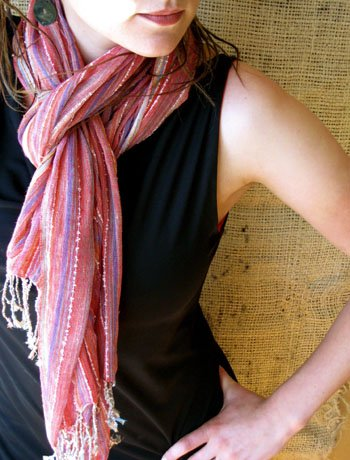 Red and Purple Hand-woven Kenyan Scarf