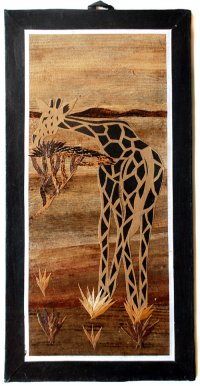 Giraffe and Acacia Tree Banana Art Black Border