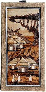 Village Scene with Acacia Tree Banana Art