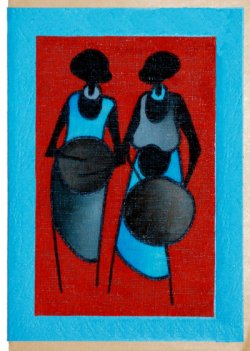 """Two Women Drumming"" Blank Greeting Card"