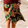 Green and Brown Checkered/Swirl Funky Skirt