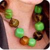 """Kazuri 18"""" Green and Brown Cubes Necklace"""