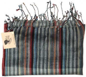 Blue and Grey Striped Woven Kenyan Scarf