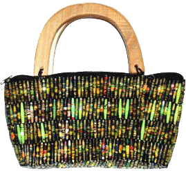 Recycled Paper Handbag with Hand-carved Wooden Handles