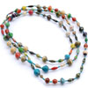 Multi-color long paper necklace