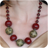 Red Amber and Antique Bead Necklace