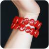 Kazuri Perfect Red Beaded Memory Wire Bracelet