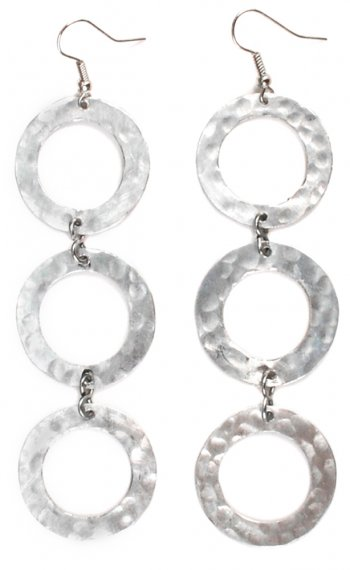 3-Circle Silver Earrings
