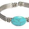 Round Turquoise Silver Bracelet