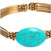Round Turquoise Brass Bracelet