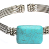 Square Turquoise Silver Bracelet