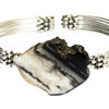 Natural Agate Black Woven Metal Bracelet