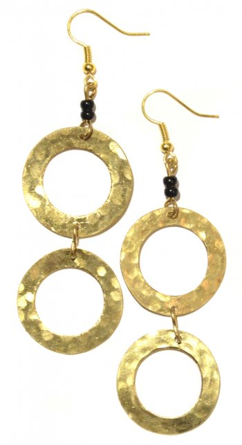 2-Circle Brass Earrings
